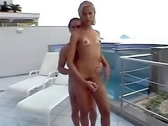 Guy and sexy shemale molest each other outdoors