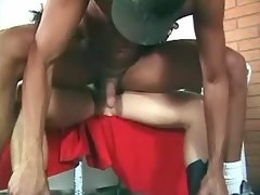 Blond tranny in boots gives head and dominates guy