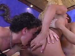 Blonde shemale gets satisfy with two guys in orgy