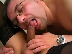 Blonde cute shemale and man blow cocks each other