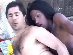Horny ebony shemales share poor man