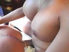 Sexy woman fucked by redhead tranny