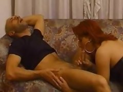 Redhead tgirl in leather sucks dude